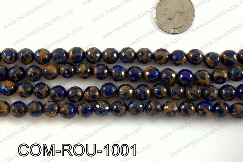 Composite Golden Quartz faceted round 10mm COM-ROU-1001