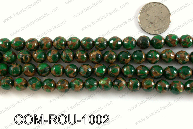 Composite Golden Quartz faceted round 10mm COM-ROU-1002