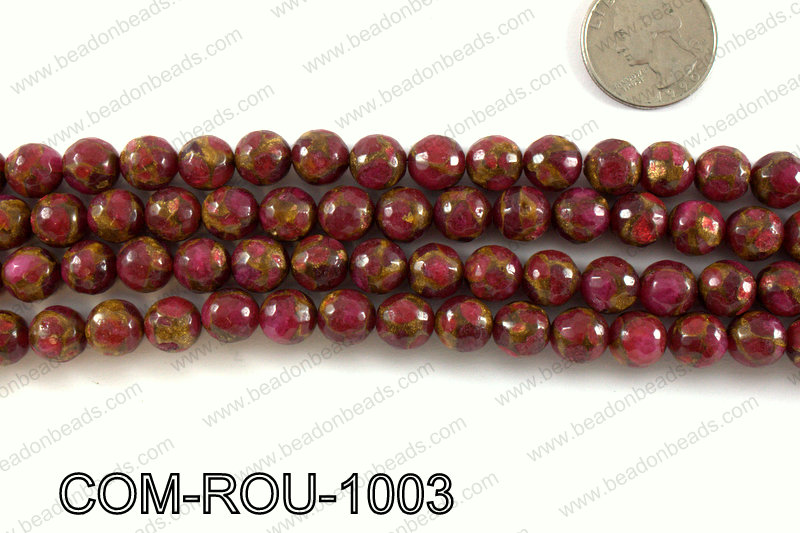 Composite Golden Quartz faceted round 10mm COM-ROU-1003