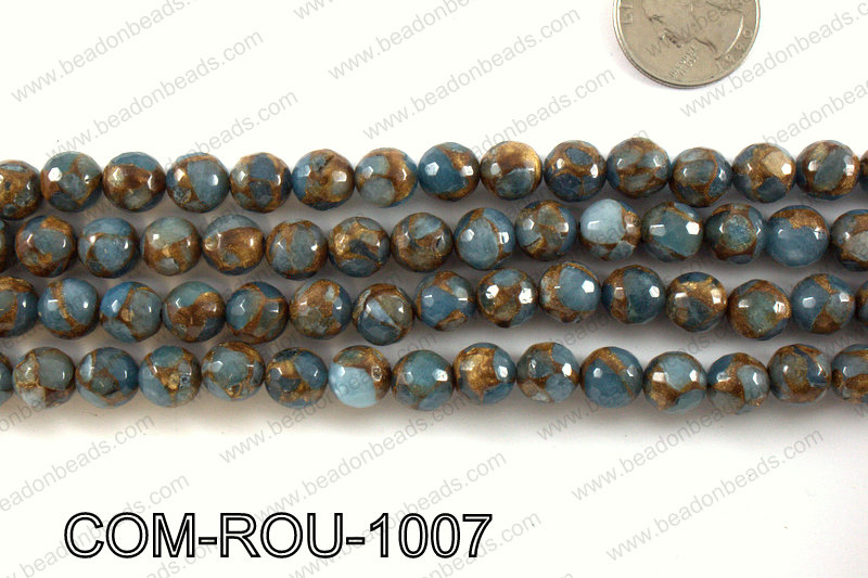 Composite Golden Quartz faceted round 10mm COM-ROU-1007