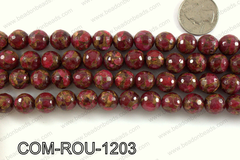 Composite Golden Quartz faceted round 12mm COM-ROU-1203