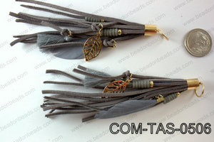 Suede designed tassels with 9x3mm gold beadcap  COM-TAS-0506