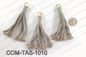 Suede leather tassels 100mm, GreyCOM-TAS-1010