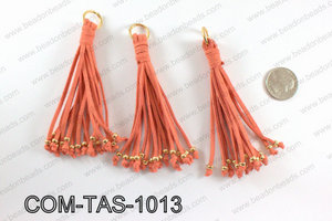 Suede leather tassels 100mm, CoralCOM-TAS-1013
