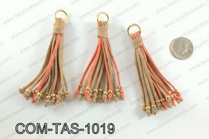 Suede leather tassels 100mm, Coral/TanCOM-TAS-1019