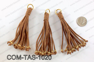 Suede leather tassels 100mm, BrownCOM-TAS-1020