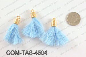 Thread tassels with gold bead cap 45mm, Light blueCOM-TAS-4504