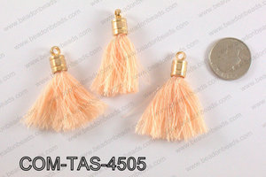 Thread tassels with gold bead cap 45mm, PeachCOM-TAS-4505