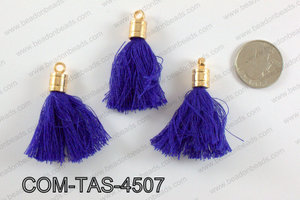 Thread tassels with gold bead cap 45mm, NavyCOM-TAS-4507