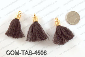 Thread tassels with gold bead cap 45mm, BrownCOM-TAS-4508