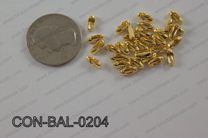 Ball chain connector around 3x8 mm gold  CON-BAL-0204