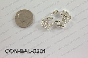 Ball chain connector around 4x10 mm light silver  CON-BAL-0301