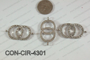 Connector with rhinestones circle silver 22x43mm CON-CIR-4301