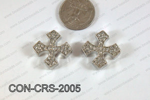 Connector with rhinestones dark silver Cross 20mm CON-CRS-2005