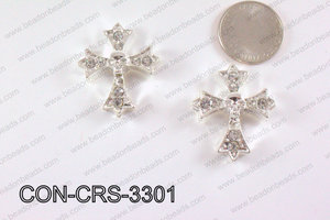 Metal Cross Connector with Rhinestone Silver 29x33mm CON-CRS-330