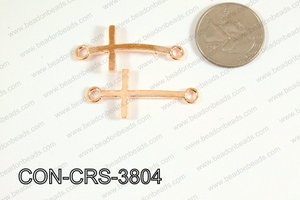 Sideway cross connector cross Rosegold 17x38mm CON-CRS-3804