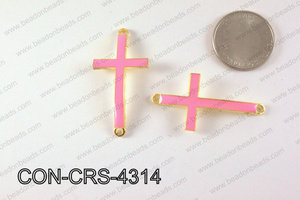 Metal Gold Cross Connector Light Pink 43X23mm CON-CRS-4314