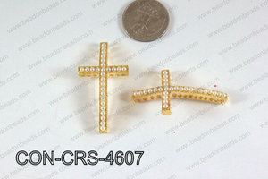 Connector with pearl Cross gold/white 25x46mm CON-CRS-4607