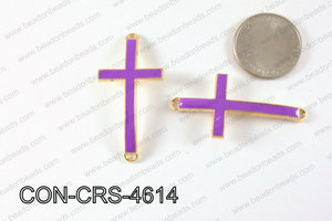 Metal Gold Cross Connector Purple 46X23mm CON-CRS-4614