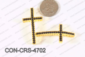 Sideway Cross Connector Gold with Black Pearl 24x47mm CON-CRS-47