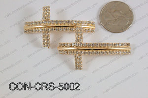 Sideway cross connector cross with rhinestone 28x50mm CON-CRS-50