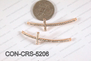 Connector with rhinestones Cross rose 15x52mm CON-CRS-5206