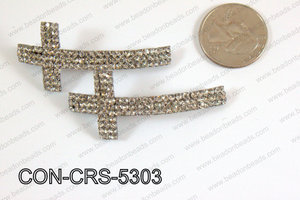 Sideway cross connector cross with rhinestone 23x53mm CON-CRS-53