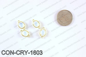 gold bezel crystal oval connector  CON-CRY-1603
