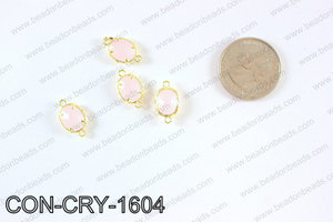 gold bezel crystal oval connector  CON-CRY-1604