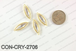 gold bezel crystal Mariquesa connector  CON-CRY-2706