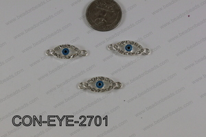 Connector with rhinestones eye silver 10x27mm CON-EYE-2701