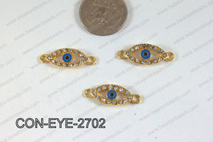 Connector with rhinestones eye gold 10x27mm CON-EYE-2702