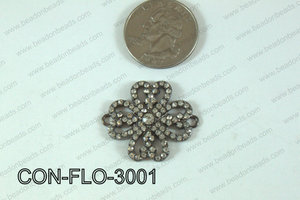 Flower Connector with Rhinestone 30mm CON-FLO-3001