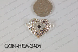 Heart Connector Light Silver 25x34mm CON-HEA-3401