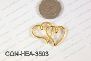 Double Heart Connector Gold 22x35mm CON-HEA-3503