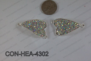 Connector with rhinestones Heart gold 25x43mm CON-HEA-4302