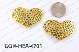 Hammered Gold Heart Connector 32x47mm CON-HEA-4701