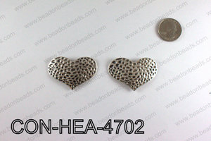 Hammered Silver Heart Connector 32x47mm CON-HEA-4702