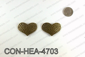 Hammered Bronze Heart Connector 32x47mm CON-HEA-4703
