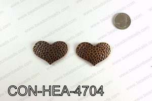 Hammered Copper Heart Connector 32x47mm CON-HEA-4704