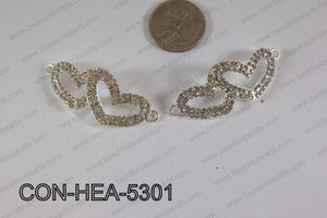 Connector with rhinestones Heart light silver 20x53mm CON-HEA-53