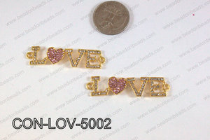 Connector with rhinestones Love gold/pink 13x50mm CON-LOV-5002