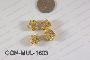 Connector with rhinestones Multi strand gold 13x16mm CON-MUL-160