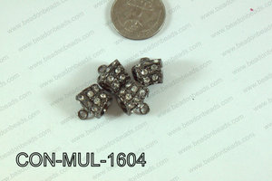 Connector with rhinestones Multi strand gunmetal 13x16mm CON-MUL