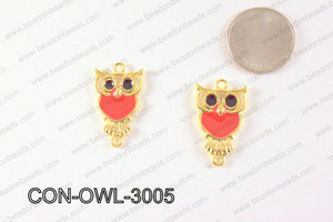 Metal Gold Owl Connector Red 30x18mm CON-OWL-3005