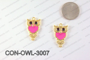 Metal Gold Owl Connector Hot Pink 30x18mm CON-OWL-3007