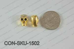 Sideway Skull connector Gold 9x15mm CON-SKU-1502