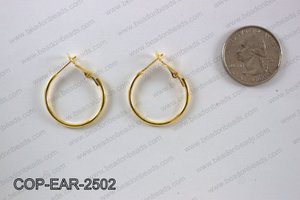 Earring hoops 25mm, Gold  COP-EAR-2502