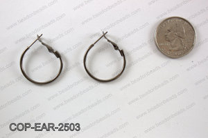 Earring hoops 25mm, Gunmetal  COP-EAR-2503