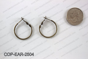 Earring hoops 25mm, Bronze COP-EAR-2504